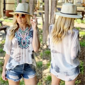 Embroidered Gray Sheer Boho Tunic